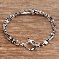 Sterling silver chain bracelet, 'Without End' - Sterling Silver Double Strand Chain Bracelet from Bali