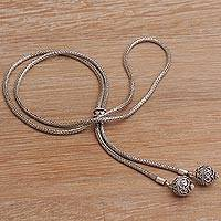 Sterling silver lariat necklace, 'Twin Orbs' - Balinese Sterling Silver Lariat Necklace with Two Orbs