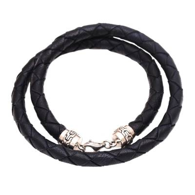 Leather braided wrap bracelet, 'Divine Dusk' - Sterling Silver and Black Braided Leather Wrap Bracelet