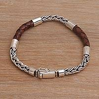 Men's leather and sterling silver bracelet, 'One Strength in Brown' - Men's Sterling Silver and Leather Bracelet from Bali
