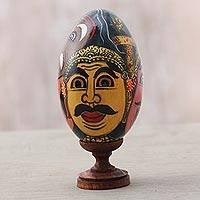 Wood sculpture, 'Bali Festival' - Multicolored Egg-Shaped Albesia Wood Sculpture from Bali