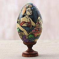 Wood sculpture, 'Balinese Way' - Hand-Painted Egg-Shaped Albesia Wood Sculpture from Bali