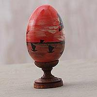 Wood sculpture, 'Tanah Lot Sunset' - Egg-Shaped Albesia Wood Sunset Sculpture from Bali