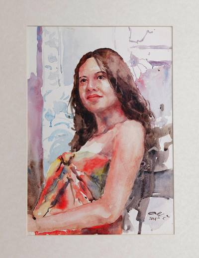 'Gadis Bali' - Signed Watercolor Painting of a Woman from Indonesian