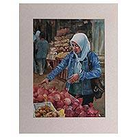 'Fruit Shopping' - Signed Impressionist Market Scene Painting from Java