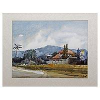 'My Village' - Signed Impressionist Landscape Village Painting from Java