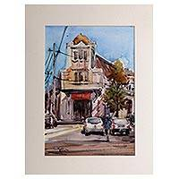 'Old Town' - Signed Watercolor Painting of Surabaya City from Java