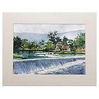 'Dam View' - Original Watercolor Painting of Indonesian River Dam