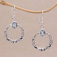 Blue topaz dangle earrings, 'Echo Ring' - Blue Topaz and Sterling Silver Dangle Earrings from Bali