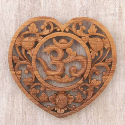 Wood relief panel, 'Om Love' - Hand Carved Balinese Om Motif Wood Wall Relief Panel