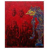 'Buto Spirit' - Signed Modern Painting in Red of a Javanese Spirit