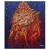'Buto Power' - Signed Expressionist Painting in Orange of a Javanese Spirit