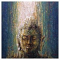'Light from Buddha' - Signed Expressionist Painting of Buddha from Indonesia