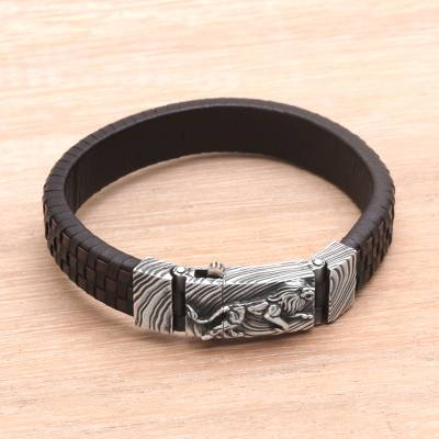 Men's leather and sterling silver wristband bracelet, 'Powerful Lion' - Men's Leather and Sterling Silver Wristband with Lion