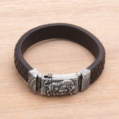 Men's leather and sterling silver wristband bracelet, 'Powerful Bison' - Men's Leather and Sterling Silver Wristband with Bison