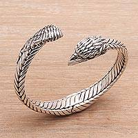 Sterling silver cuff bracelet, 'Magnificent Eagle' - Unisex Sterling Silver Eagle Cuff Bracelet from Indonesia
