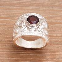 Garnet cocktail ring, 'Misty Trace' - Ornate Balinese Garnet and Sterling Silver Cocktail Ring