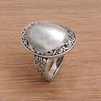 Sterling silver domed cocktail ring, 'Silver Celebrated' - Sterling Silver Domed Ring with Balinese Scroll Work