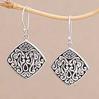 Sterling silver dangle earrings, 'Paradise Window' - Sterling Silver Diamond-Shaped Scroll Work Dangle Earrings
