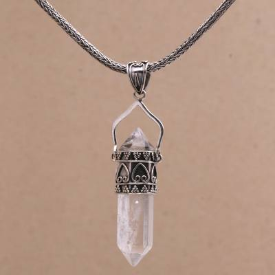 Quartz pendant necklace, 'Shard of Love' - Natural Quartz and Silver Pendant Necklace from Bali
