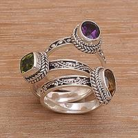 Multi-gemstone stacking rings, 'Perfect Prism' (set of 3) - Multi-Gemstone Sterling Silver Stacking Rings (Set of 3)