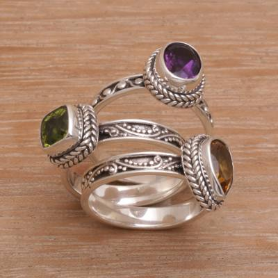 Multi-gemstone stacking rings, Perfect Prism (set of 3)