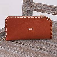 Leather glasses case, 'Lavish Leather in Burnt Orange' - Leather Glasses Case in Burnt Orange from Bali
