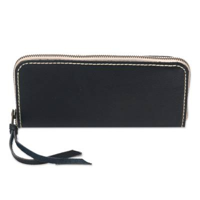 Handcrafted Leather Wallet in Ebony from Java