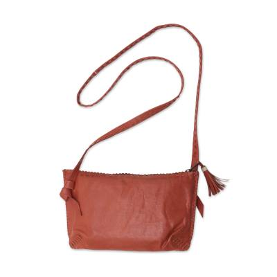 Handcrafted Leather Sling Handbag in Pumpkin from Java