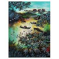 'Java Lake' - Signed Impressionist Painting of a Lake from Java