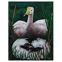 'Mother Swan' - Signed Realist Swan Painting from Indonesia