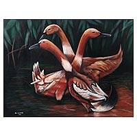 'Gathering Ducks' - Signed Realist Painting of Three Ducks from Java