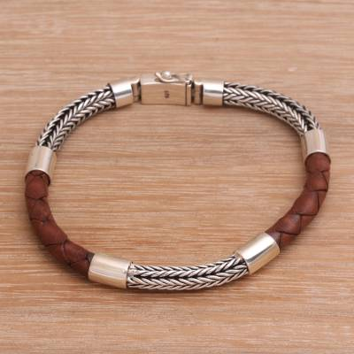 Men's sterling silver and leather bracelet, 'Stay Strong in Brown' - Men's Sterling Silver and Leather Wristband Bracelet