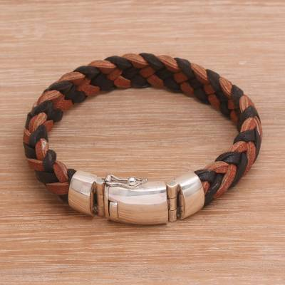 Men's leather and sterling silver wristband bracelet, 'Kintamani Fusion' - Men's Black and Brown Leather Braided Wristband Bracelet