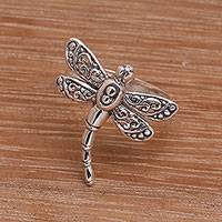 Sterling silver cocktail ring, 'Dance of the Dragonfly' - Sterling Silver Dragonfly Cocktail Ring Handmade in Bali