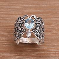 Blue topaz cocktail ring, 'Majestic Monarch' - Blue Topaz and Sterling Silver Butterfly Cocktail Ring