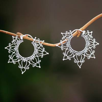 Sterling silver hoop earrings, 'Halo of Petals' - Sterling Silver Hoop Earrings Handcrafted in Bali