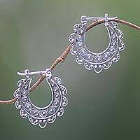 Sterling silver hoop earrings, 'Bali Glamour' - Sterling Silver Hoop Earrings Handcrafted in Bali