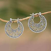 Sterling silver hoop earrings, 'Swirling Radiance' - Sterling Silver Hoop Earrings Handcrafted in Bali
