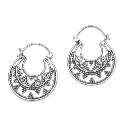 Sterling Silver Hoop Earrings Handcrafted in Bali