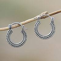 Sterling silver hoop earrings, 'Luminescent Halo' - Sterling Silver Hoop Earrings Handcrafted in Bali
