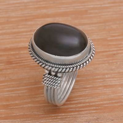 plain silver thumb ring quilt - Onyx and Sterling Silver Cocktail Ring Handmade in Bali