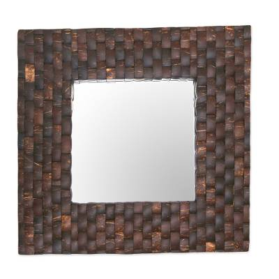 Coconut Shell Square Wall Mirror Handmade in Indonesia