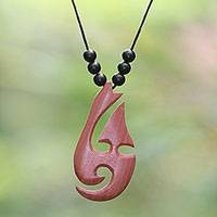 Wood and onyx pendant necklace, 'Bright Lidah Api' - Adjustable Onyx and Sawo Wood Pendant Necklace from Bali