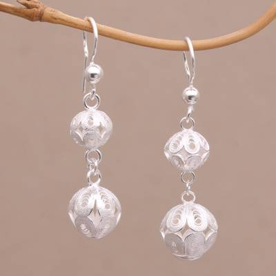 Sterling silver filigree dangle earrings, 'Luminous Lanterns' - Filigree Sterling Silver Dangle Earrings Handmade in Java