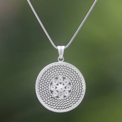 Sterling silver filigree pendant necklace, 'Jogja Shield' - Sterling Silver Filigree Pendant Necklace Handmade in Java