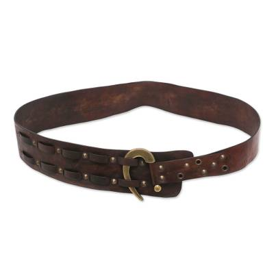 Handcrafted Iron Studded Leather Belt with Contemporary Hook