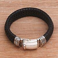 Men's leather wristband bracelet, 'Lineage in Black' - Men's Leather and Sterling Silver Braided Wristband Bracelet