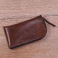 Leather glasses case, 'Elegant Brown Curve' - Handcrafted Curved Brown Leather Glasses Case