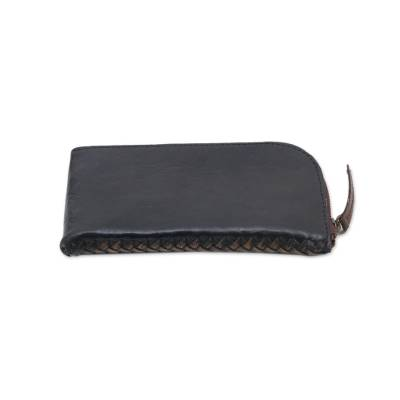 Handcrafted Curved Black Leather Glasses Case